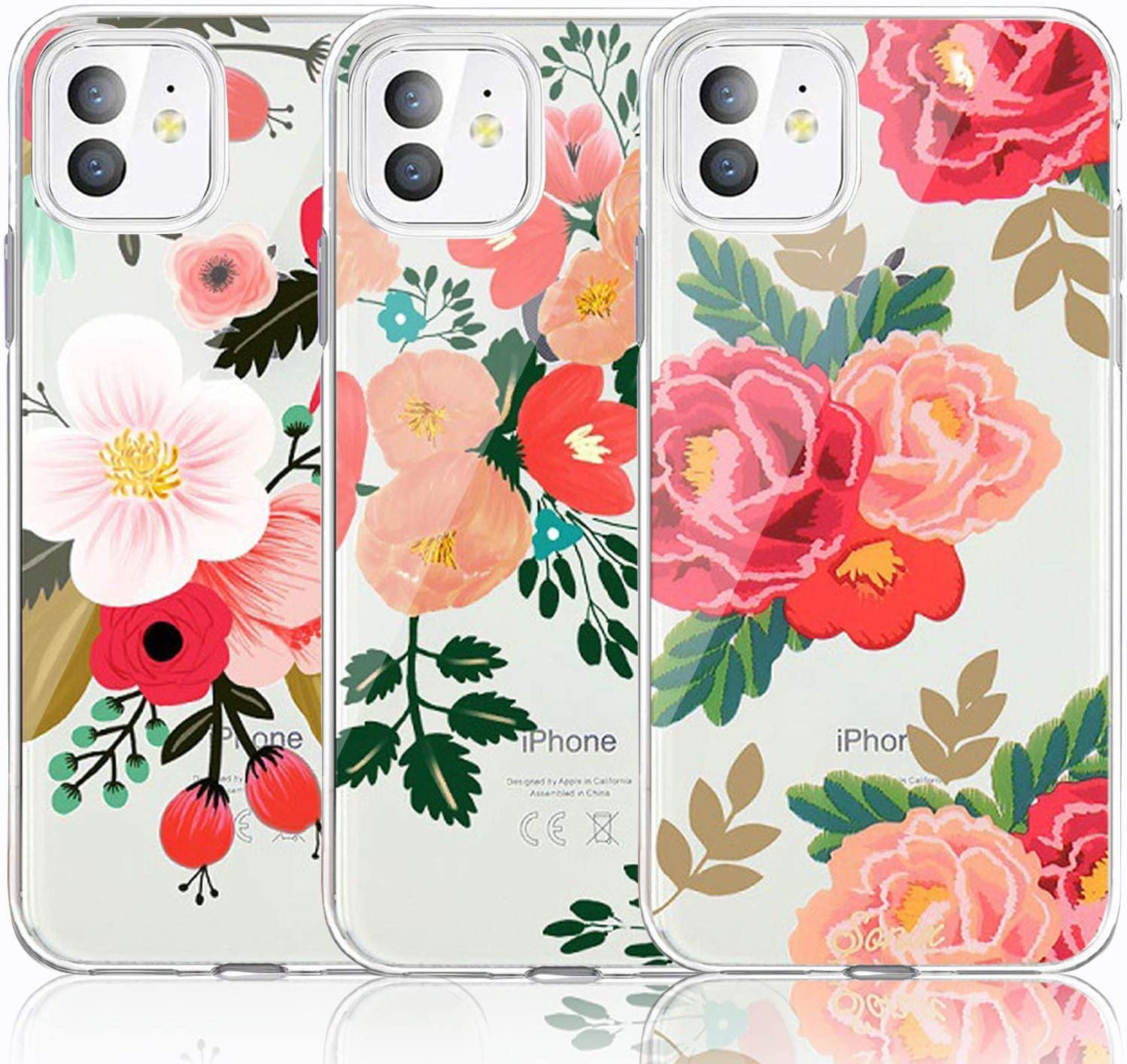 iPhone 11 Case, iPhone 11 Case with Flowers, [3-Pack] CarterLily Watercolor Flowers Floral Pattern Soft Clear Flexible TPU Back Case for Apple iPhone 11 6.1 inch (Redflowers)