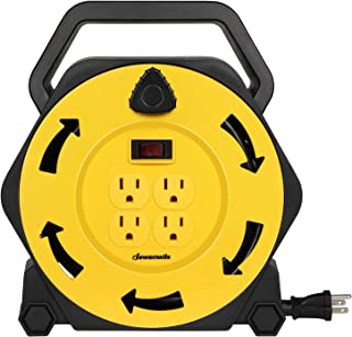 DEWENWILS Extension Cord Reel with 25 FT Power Cord, Hand Wind Retractable, 16/3 AWG SJTW, 4 Grounded Outlets, 13 Amp Circ...