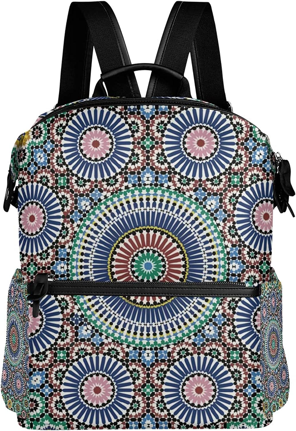 MONTOJ colorful Traditional Arabic Circle Leather Travel Bag Campus Backpack