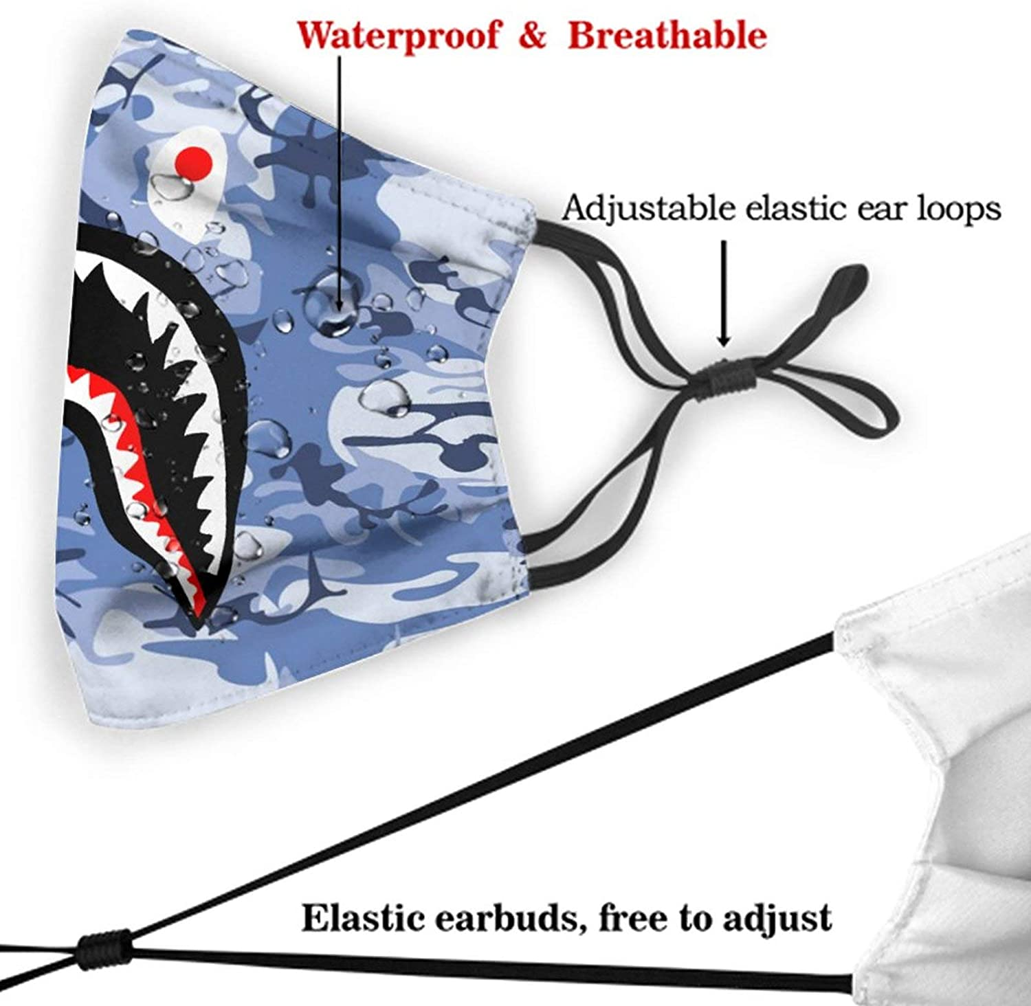 Face Mask Bapes Camo Balaclava Windproof with 2 Filter Adjustable Mouth Cover