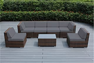 Genuine Ohana Outdoor Patio Sofa Sectional Wicker Furniture Mixed Brown 7pc Couch Set (Gray)