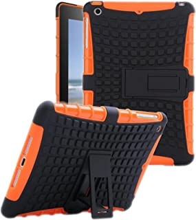Protective Heavy Duty Tough 2 in 1 TPU PC Design Holder Case Cover Fit for New iPad 9.7 inch 2017 Released Model MP2G2LL MP2J2LL MPGT2LL MPGW2LL MP2F2LL MP2H2LL MP252LL MP2E2LL Black Orange