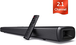 Sound bar for TV, Vinoil 2.1 Channel 35 Inch TV Soundbar with Built-in Subwoofer, 105 dB, Strong Bass, Optical/AUX/Coaxial Input, Wall Mountable, Surround Sound System for TV & Home Theater