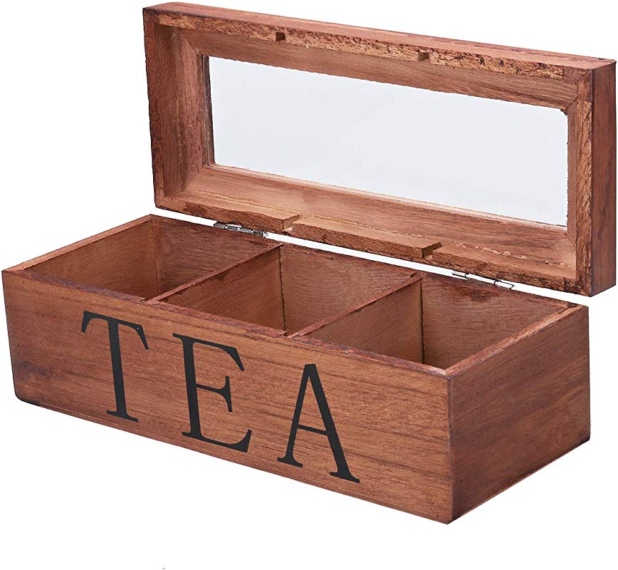 Kisstaker Tea Box Tea Bag Stores Wooden Tea Box 3 Compartments Hinged Glass Lid Tea Organizer Jewelery Box Storage