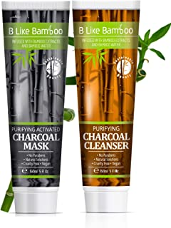 B Like Bamboo Activated Charcoal Mask and Purifying Face Cleanser Bundle | Women & Men | Natural Skin Detox | Deep Cleansing | Blackheads | Pore Minimizing | Paraben Free | Value Pack 2 x 150ml (5oz)