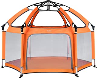 Hoybell Baby Playpen, Portable Playard Indoor and Outdoor, Safety Lock, Washable 6-Panel Kids Playpen with Carry Case, Canopy - Orange