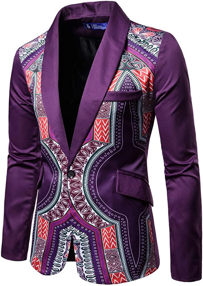VEKDONE Men's Suit Jackets Classic Fit African Dashiki Printed One Button Blazer Coat Jacket Tops