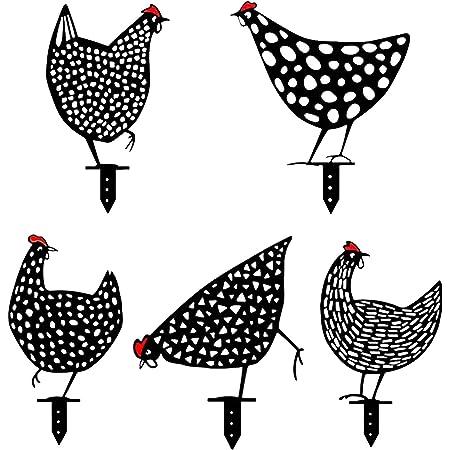 Garden Chicken Yard Art Backyard Ornament Decoration Chicken family Acrylic Iron