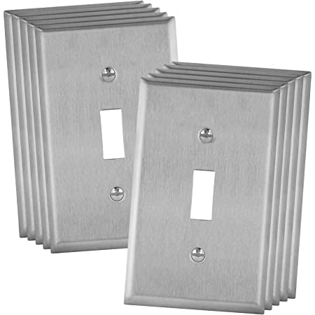Enerlites Toggle Light Switch Metal Wall Plate Stainless Steel Switch Cover Corrosion Resistant Standard Size 1 Gang 4 50 X 2 76 Ul Listed 7711 10pcs 430 Stainless Steel 10 Pack