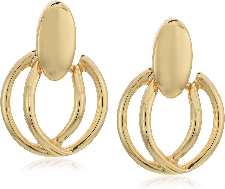 Napier Women's Pierced Earrings Small Doorknocker Post, Gold