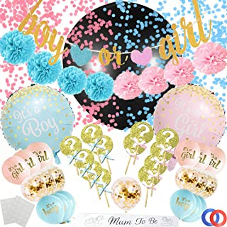 Funnlot Gender Reveal Party Supplies 53PCS Baby GenderRevealDecorations with Reveal Gender Balloon Banner Cake Topper Mom To Be Sash Gender Reveal Party Favors for Deluxe Baby Shower Boy or Girl Kit