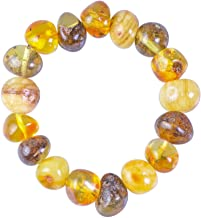 Raw Baltic Amber Bracelet for Adults - Unisex - Authentic Certified Baltic Amber -On Elastic Band