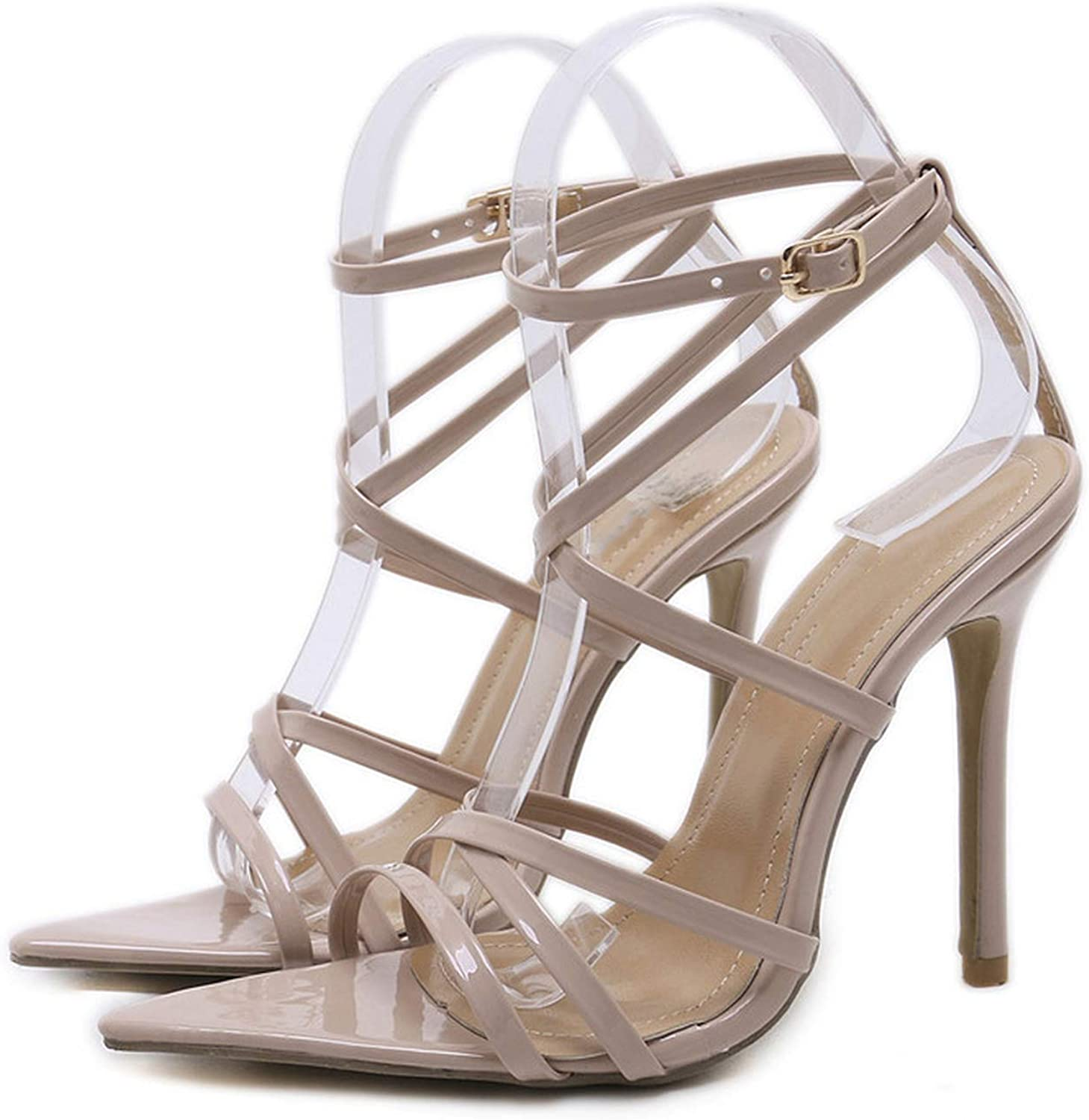 Women Sandals Sexy Cross Strap Buckle high Heels Gladiator Party shoes