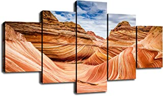 Living Room Decor Paintings Coyote Buttes Wave Sandstone Wall Art Poster 5 Panel Canvas Pictures for Home Parya Canyon Arizona Desert Artwork Framed Prints Decoration Ready to Hang(60''Wx32''H)