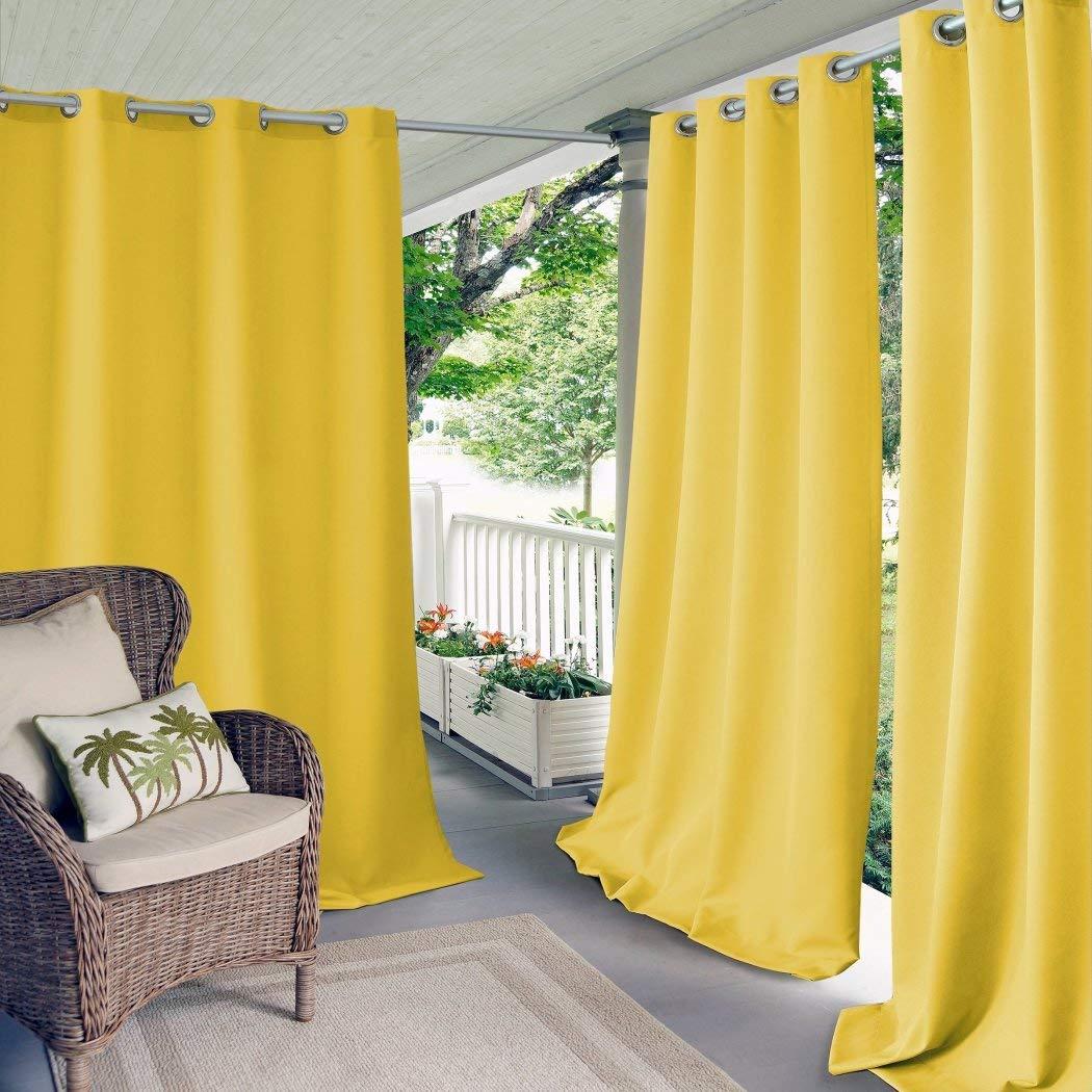 1 pieza 108 pulgadas al aire libre Gazebo de color sólido Amarillo Cortina, amarillo fuera ventana