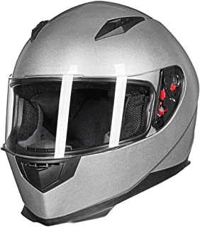 ILM Full Face Motorcycle Street Bike Helmet with Removable Winter Neck Scarf + 2 Visors DOT (M, Silver)