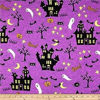 Santee Print Works Halloween Haunted House Fabric, Purple, Fabric By The Yard