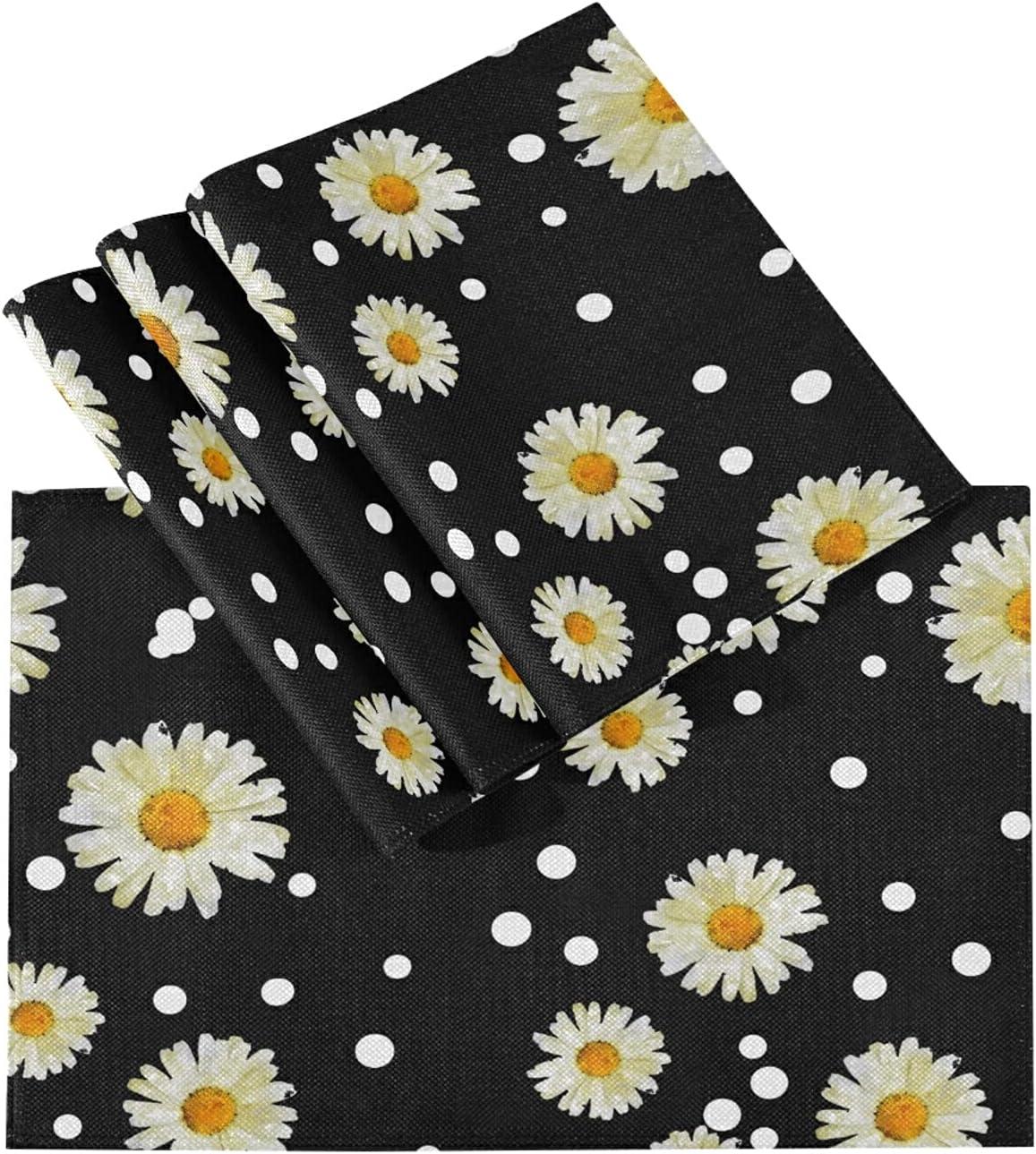 KKAYHA - Juego de 4 manteles individuales resistentes al calor con diseño de margaritas de flores y lunares, lavable, para decoración de mesa de cocina, comedor, 45,7 x 30,5 cm