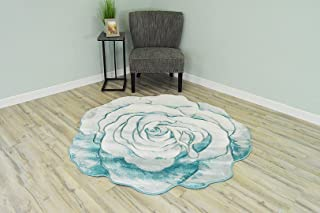 Flowers 3D Effect Hand Carved Thick Artistic Floral Flower Rose Botanical Shape Area Rug Design 304 Blue 5'3''x5'3'' Round