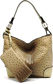1eaa2e6b9175 2 PC Set Ostrich Croco Embossed Vegan Faux Leather Hobo Shoulder Bag  Classic Bucket Purse with