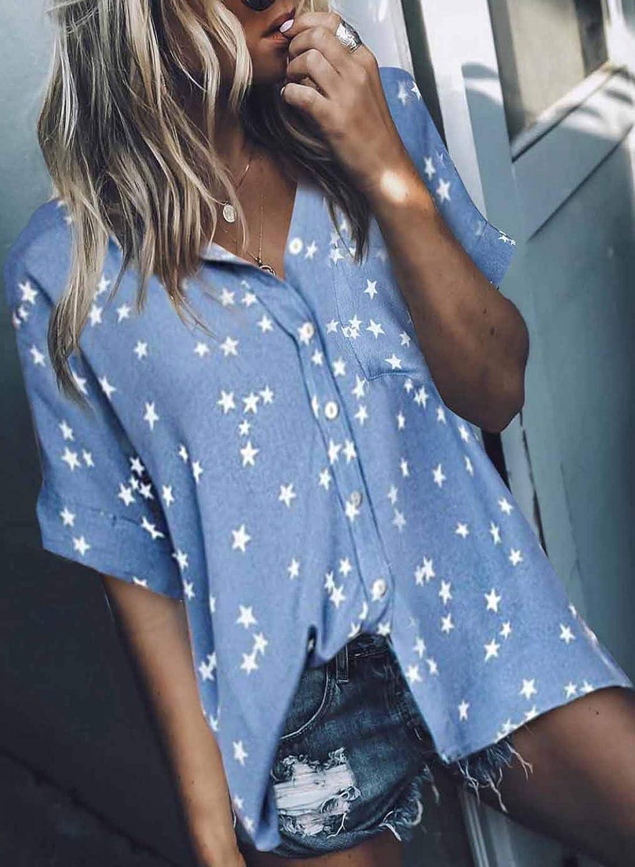 GOSOPIN Women V Neck Stars Printed Shirt Loose Button Down Blouse Tops XX-Large Sky Blue