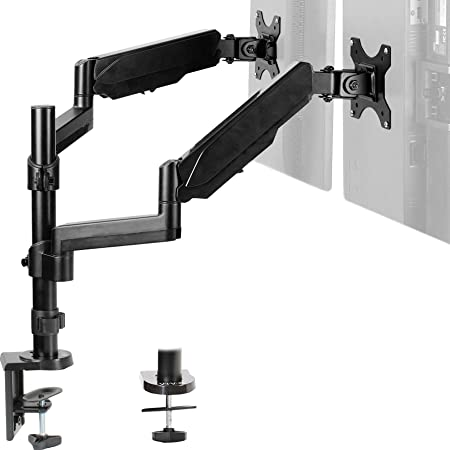 VIVO Dual Monitor Arm Mount for 17 to 32 inch Screens - Pneumatic Height Adjustment, Full Articulating Tilt, Swivel, Heavy Duty VESA Stand with Desk C-clamp and Grommet Option STAND-V002K