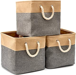 EZOWare 3-Pack Collapsible Storage Bins Basket Foldable Canvas Fabric Tweed Storage Cubes Set with Handles for Babies Nursery Toys Organizer (13 x 13 x 13 inches) (Gray/Beige)