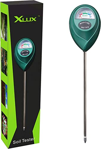 XLUX T10 Soil Moisture Sensor Meter Water Monitor, Hygrometer for Gardening, Farming, No Batteries Required