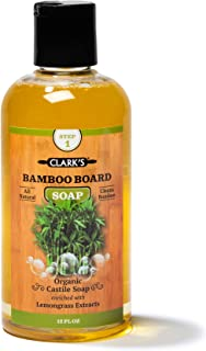 CLARK'S Bamboo Board Soap (12oz) | Enriched with Lemongrass Oil | Organic & 100% Natural | Clean Bamboo Cutting Boards, Se...