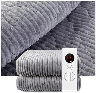 GPWDSN Lyxig elektrisk uppvärmd filt, mjuk fleece grå filt | Timer 9 styrvärmeinställningar | överdimensionerad 180 x 150 ...