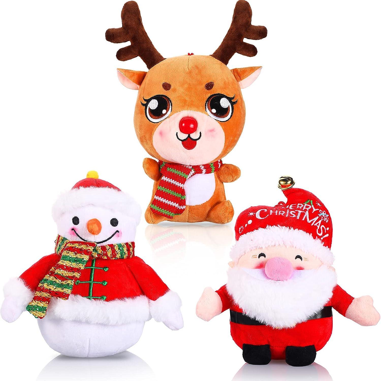 3 Pieces Christmas Plush Toy Doll Santa Reindeer Snowman Claus Stuffed Animal Plush Toy Christmas Stuffed Animal Set Xmas Decorations Home Ornament