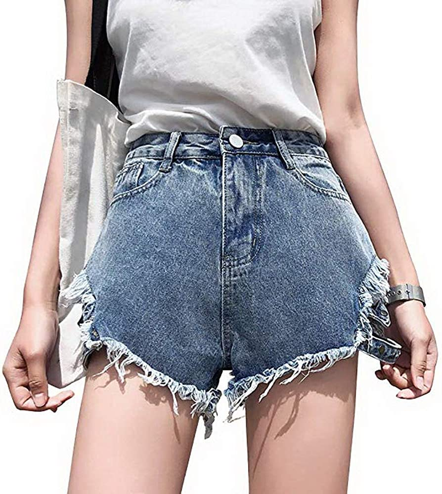 Swbreety Womens Juniors Sexy High Rise Shorts Frayed Raw Hem Ripped Denim Shorts