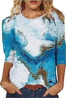 Xmiral T-Shirt Vrouwen Tie-dye 3/4 mouw O-hals Shirt Dier/Landschap Print Blouse Tops