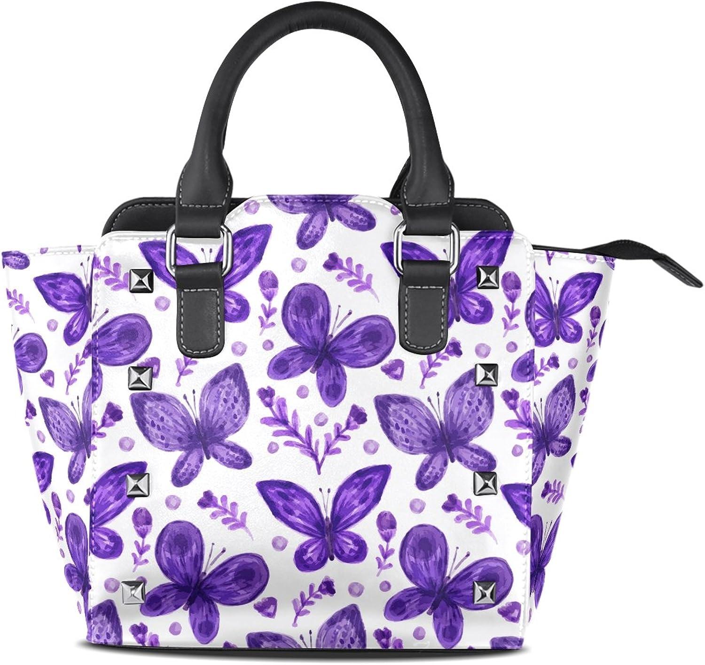 My Little Nest Women's Top Handle Satchel Handbag Purple Butterfly Ladies PU Leather Shoulder Bag Crossbody Bag