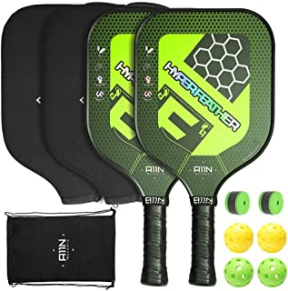 A11N Premium Pickleball Paddle Set or Single, 8 oz USAPA Approved Pickleball Racquets - Graphite Face & Polymer Core| Ultra Cushion Grip, Set Includes Indoor & Outdoor Balls, Covers, Overgrips and Bag