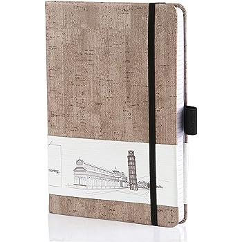 Kesote クラシックノート クラシックブック A5判 ドット方眼 200ページ 厚手紙 しおり付き ペンホルダー付き グレー