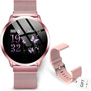 GOKOO Smartwatch Mujer Rosa Reloj Inteligente Fitness Tracker Correa de acero Mujer Pulsómetros Monitor de Sueño Reloj Dep...