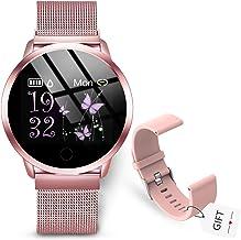 GOKOO Reloj Inteligente Mujer Smartwatch Rosa Fitness Tracker Mujer Pulsómetros Monitor de Sueño Reloj Deportivo Compatible con Android IOS