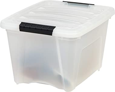 IRIS USA TB Pearl Plastic Storage Bin Tote Organizing Container with Durable Lid and Secure Latching Buckles, 19 Qt, 6 Count