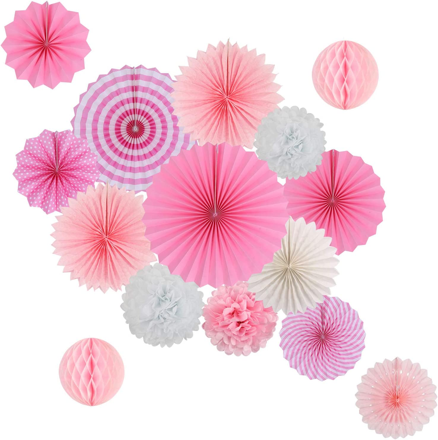 Hanging Party Decorations Set Tissue Paper Fan Paper Pom Poms Flowers and Honeycomb Ball for Wedding Birthday Baby Showers Engagement Party Decor Pink Kit
