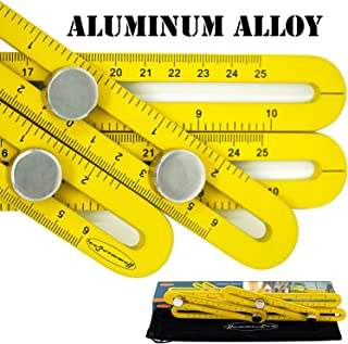 Multi Angle Ruler Template Tool Heavy Duty Aluminum Alloy Universal Angularizer Multi Function Ruler for Woodworker Tiler Gift Constructors (Yellow)