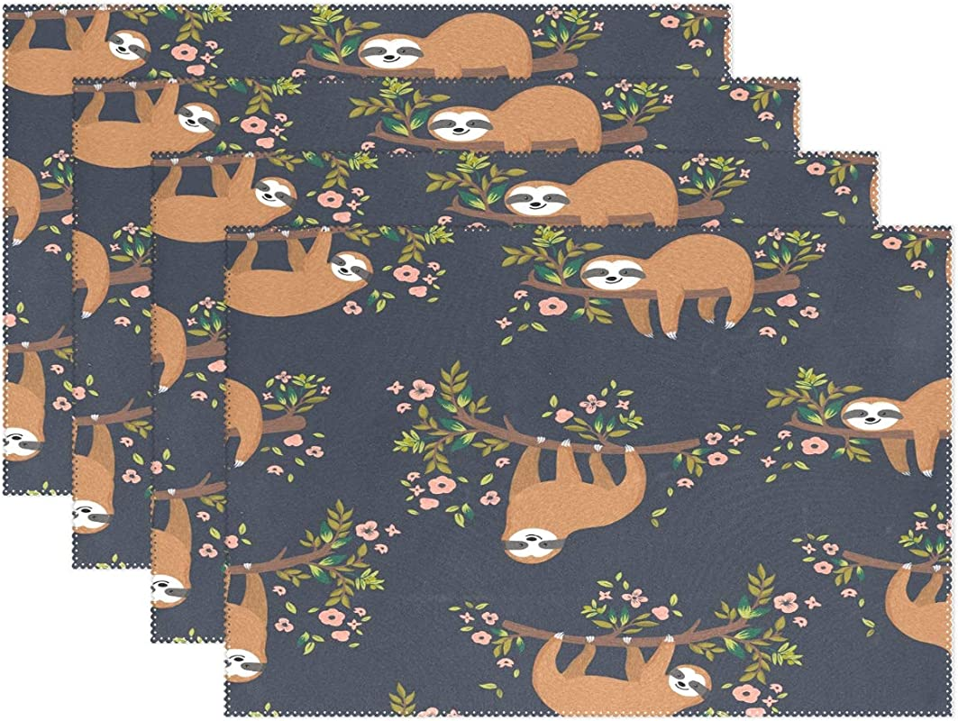 JOKERR Place Mats Sets Of 4 Cute Animal Sloth Floral Tree Placemats Table Mats Non Slip Washable Heat Resistant For Kitchen