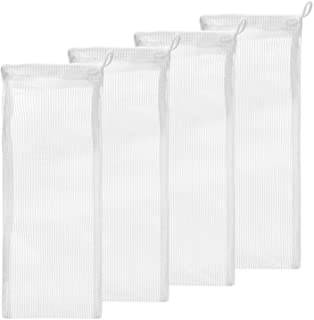 """Small Aquarium Mesh Media Filter Bags - High Flow 500 micron - 4 pack - 3"""" by 8"""" with Drawstrings for Activated Carbon - R..."""