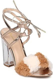 Women Mixed Media Furry Color Block Ankle Cuff Lucite Block Heel Sandal GF34