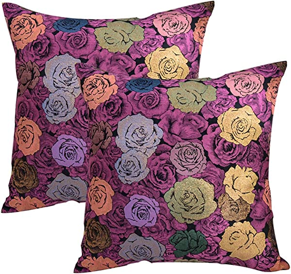 JSBYY Flower Throw Pillow Covers Color Rose Decoration Cushion Cover 18x18 Inch Set Of 2 Purple