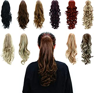 Jaw Claw Clip In Ponytail - Synthetic Fiber Ponytails Clips On Hair Extensions Curly Wavy Pony Tail Hairpieces for Women Grils , Natural Brown