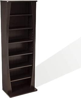 Atlantic Canoe Curved Multimedia Cabinet - Holds 231Cds, 115Dvds or 140 Blu-ray/Games, Adjustable Shelves, PN22535717 in Espresso