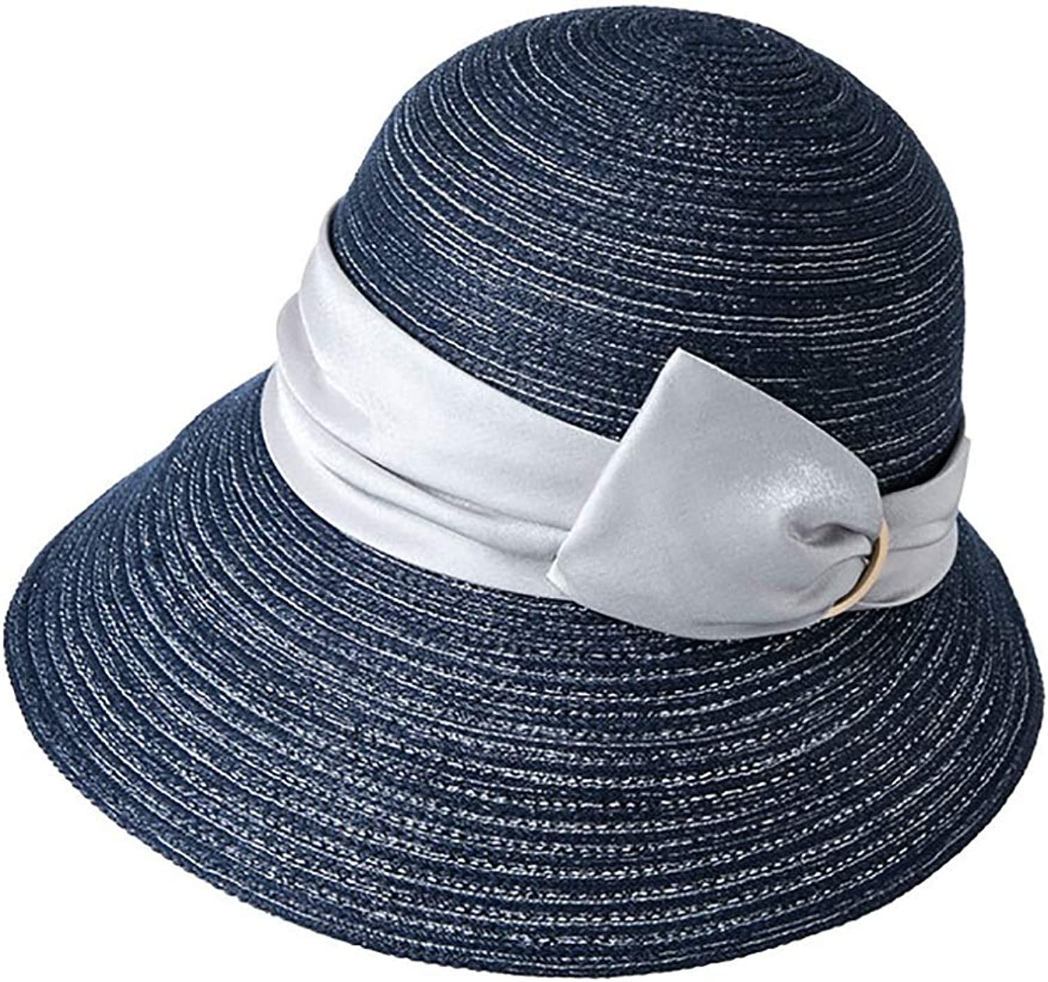 Women's Straw Hat Sun Hat Solid color Hat Hat Simple Style UV Predection Foldable White orange Beige bluee (color   bluee)
