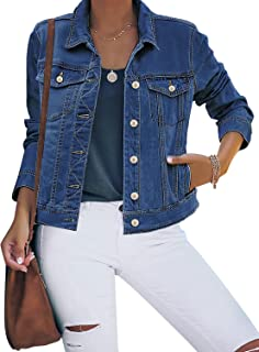 Sponsored Ad - luvamia Women's Basic Button Down Stretch Fitted Long Sleeves Denim Jean Jacket