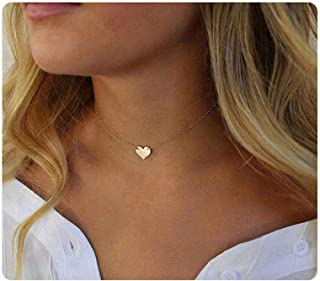 S.J JEWELRY Womens Simple Delicate Handmade 14K Gold Plated/Rose Gold/Silver Plated Simple Delicate Heart and Bar Chokers Necklace